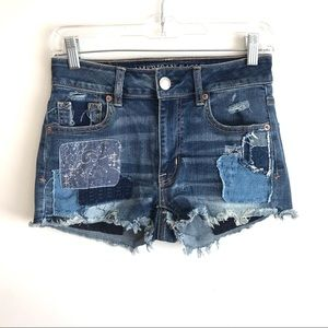 AMERICAN EAGLE OUTFITTER hi rise shortie patchwork